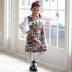 Girls Christmas Patchwork Smock Dress – Lolly Wolly Doodle