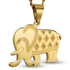 2015 Gold Plated Cute Elephant Shape Stainless Steel Jewelry Set