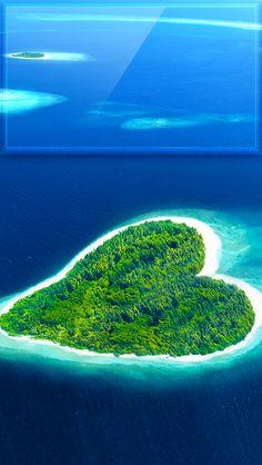 ↑↑TAP AND GET THE FREE APP! Lockscreens Art Creative Sky Water Sun Love Heart Island Nature Blue Green HD iPhone 5 Lock Screen