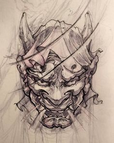japanese tattoos meaning Oni Tattoo, Hanya Mask Tattoo, Skull Tatto, Demon Tattoo, Samurai Tattoo, Japanese Tattoo Art, Japanese Sleeve Tattoos, Tattoo Sketches, Tattoo Drawings