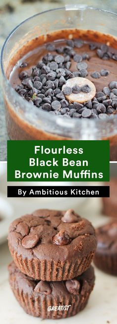 5. Flourless Black Bean Brownie Muffins #healthy #portable #snacks http://greatist.com/eat/healthy-snacks-from-ambitious-kitchen