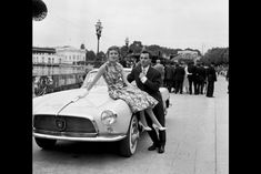 Evelyne Plessis and Charles Aznavour in Enghien-les-Bains. 1956