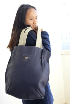 SALE Blue leather shoulder bag , Navy blue leather tote bag by BarLeather by BarLeather on Etsy