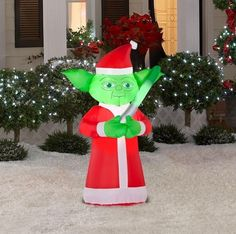 """Inflatable Star Wars Master Yoda Disney Outdoor Airblown Lighting Yard Decor NEW Star Wars YODA Lighted Airblown Inflatable Energy-Efficient LEDS Easy Set Up Includes1 airblown, 4 Stakes, 2 Tethers Measures 42"""" Everything included Get ready to get classic Star Wars action in your yard this Christmas with this awesome self-inflating Inflatable Star Wars Master Yoda! Yoda makes quite a statement! He's dressed in a more traditional Santa Suit, styled like a Father Christmas. He'll be a…"""
