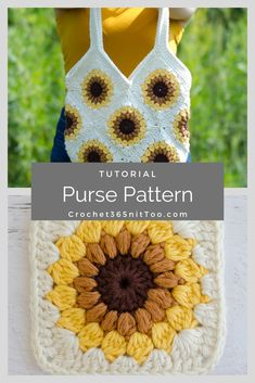 Gorgeous, fast and easy crochet sunflower bag! This crochet sunflower bag is just the thing! Beautiful in sunflower golds and browns would be beautiful in other fun colors too! Crochet Gifts, Cute Crochet, Beautiful Crochet, Easy Crochet, Crochet Baby, Crochet Dolls, Crochet Squares, Crochet Motif, Crochet Designs