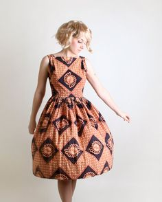 Vintage Tiki Dress  1950s Sleeveless Spring Diamond Dress by zwzzy, 75.00