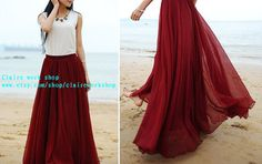 Handmade 8 color chiffon silk long skirts by claireworkshop, $42.00