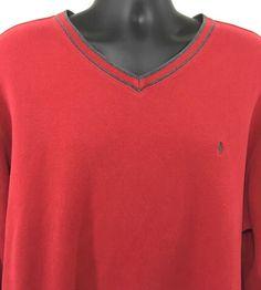 Polo Ralph Lauren XXL Mens V-Neck Pullover Shirt Cotton Red Long Sleeve Pony #PoloRalphLauren #VNeckPullover