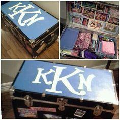 diy decorated camp trunk! I LOVE CAMP.