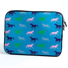 Kelley Equestrian Neoprene iPad Sleeve in Teal - Show your love for horses by incorporating it with your favorite technology! Soft neoprene sleeve zips at the top and helps ensure your iPad stays clean and safe.