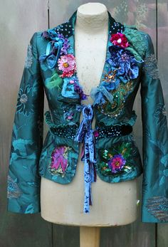 Emerald fantasy jacket ornate festive jacket от FleursBoheme