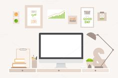 Modern workspace with iMac by grop on Creative Market