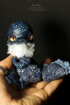 Blue Axolotl OOAK posable doll gift spirit fantasy creature
