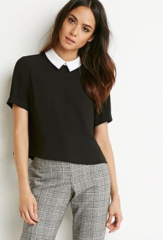 Contrast-Collar Boxy Top   Forever 21 - 2000141536