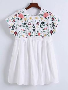 SheIn offers Flower Embroidery C. SheIn offers Flower Embroidery C… Shop Flower Embroidery Cap Sleeve Dress online. Kurta Designs, Blouse Designs, Designer Wear, Designer Dresses, Embroidery Dress, Embroidery Shop, Embroidery Patterns, Western Outfits, Floral Tops