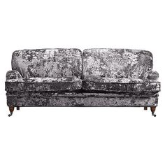 Luxe Kensington 3 Seater Sofa in Flint with Walnut Legs & Black Chrome Castors