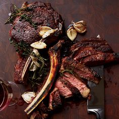 Butter-Basted Rib Eye Steaks - Winter hibernation isn't all about soups and stews. Fight back against the season's chilly bite with a deliciously charred, ultra-juicy steak, Good Steak Recipes, Meat Recipes, Wine Recipes, Cooking Recipes, Recipies, Meat Meals, Cooking 101, Cooking Time, Delicious Recipes