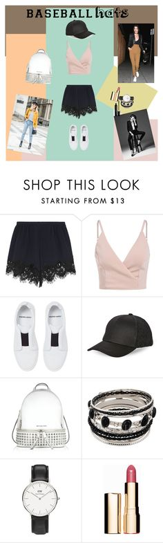 Hands To Myself by dinapetridi on Polyvore featuring Chloé, Pierre Hardy, Michael Kors, Daniel Wellington, BCBGeneration, Clarins, Marc Jacobs, baseballcap and baseballhats