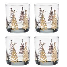 46e8239b330b Culver Gold 22k Joyous Trees 11-Ounce Old Fashioned Glass... https