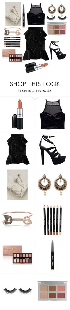 """black velvet"" by emptyshadows ❤ liked on Polyvore featuring MAC Cosmetics, H&M, Balmain, GUESS, Givenchy, IaM by Ileana Makri and Bobbi Brown Cosmetics"