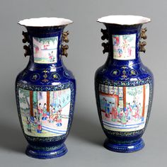 A Pair of 19th Century Canton Enamel Vases - Timothy Langston
