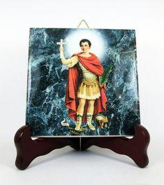 St. Expeditus #Catholic #icon on ceramic tile - https://www.etsy.com/it/listing/242035169/saint-expeditus-christian-wall-art