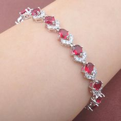 New Fashion Red Zirconia 925 Sterling Silver For Women Engagement Bracelet Price history. Silver Bracelets For Women, Mens Silver Rings, Sterling Silver Bracelets, Silver Earrings, Earrings Uk, Snake Jewelry, Hand Jewelry, Diamond Bracelets, Gold Bangles
