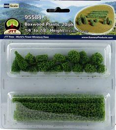 JTT Scenery Products HO 95584 Boxwood Plants, 1/4'' to 7/8'' High (Pack of 20) | ModelTrainStuff.com