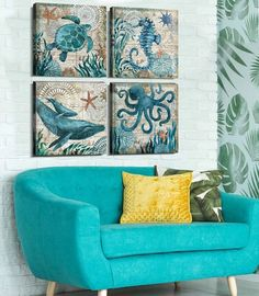 Toilet Residence Decor Turtle Canvas Wall Artwork Octopus Seahorse Dolphin Seaside Posters Decorations Set for Kitchen Teal Ocean Animal Work Paintings Photos Stretched and Framed 12 x 12 Inch x four Pcs Bedroom Canvas, Canvas Wall Art, Unique Wall Decor, Modern Decor, Teal Curtains, Poster Decorations, Hawaiian Decor, Artwork Pictures, Photos