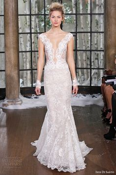 ines di santo fall winter 2015 couture wedding dress cap sleeves lace deep plunging neckline mermaid bridal gown madrid