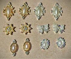 12 pc Pearl Nail Charm, Bow 3d Nail Art, Pearl Nails, Wedding Nails, Elegant art