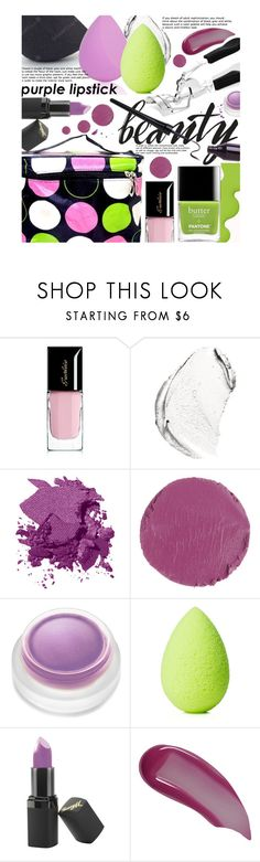 """""""Beauty Trend We Love: Purple Lipstick"""" by beebeely-look ❤ liked on Polyvore featuring beauty, Butter London, Guerlain, Christian Dior, Bobbi Brown Cosmetics, Kevyn Aucoin, rms beauty, beautyblender, Barry M and Beauty"""