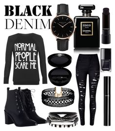 """BLACK♥"" by rina-shmail on Polyvore featuring WearAll, Chanel, Zimmermann, Vanessa Mooney, Topshop and Giorgio Armani"