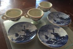Vintage 6pc Delfts Holland Blue Windmill Miniature Tea Set Cups Plates | eBay