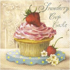 Strawberry Cup Cake Afternoon Tea Shabby Vintage Chic Kitchen Picture Plaque