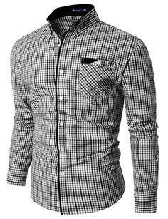 Doublju Mens Check Dress Shirts BLACK (US-S)
