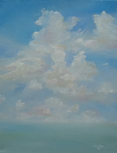 Oil painting clouds sky landscape Perpetuity 14x18 inch by jujuru, $240.00