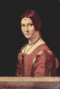 Ferronnière -a delicate jewelry item worn by women on the forehead and served to help hold the hairstyle in place.