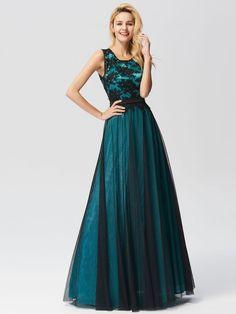 331707034fa9c Sleeveless Evening Dress with Black Brocade | Ever-Pretty #eveningdress # eveningdresses #longdress