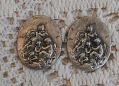 2 Cherub or Angel Craft Pieces Small Oval Metal Craft Piece