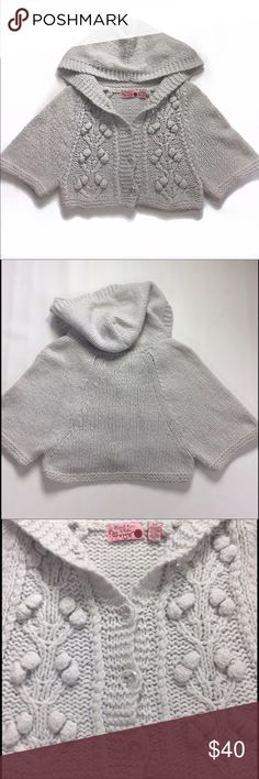 NWOT Anthropologie Hand Knit by Dollie sweater S NWOT Anthropologie Hand Knit by Dollie sweater  Size small Cardigan Gray with crystal like buttons Hooded Anthropologie Sweaters Cardigans