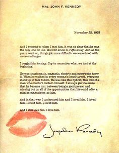 Jackie Kennedy's typed letter describing her love for President John F. Kennedy.