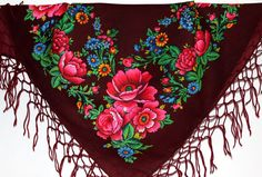 Vintage shawl Russian style 100% Wool Floral by LoversOfOldThings