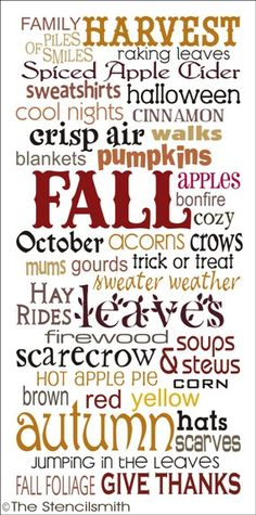 1819 - FALL-fall subway stencil typography harvest leaves autumn words art