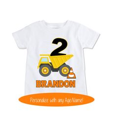 This adorable construction themed birthday shirt is the perfect attire for your little man to wear on his big day! Whether celebrating a special first