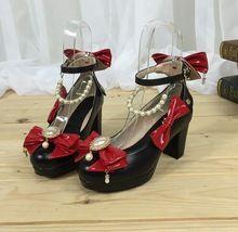 Mori moda menina sapatos lolita cosplay mulher sapatos senhora Bombas dos saltos altos mulheres plataforma princesa sapato bowtie beading saltos grossos(China (Mainland))