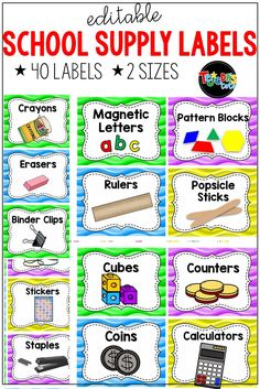 Looking for an organization system for your classroom materials? These 40 school supply labels come in 2 sizes and are EDITABLE! Perfect to brighten up your primary classroom! Part of an ocean classroom decor set. School Supply Labels, School Supplies Organization, Diy School Supplies, Teacher Organization, Organized Teacher, Classroom Labels, Classroom Supplies, Primary Classroom, Teaching Supplies