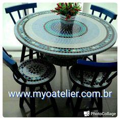 Conjunto mesa mosaico madeira