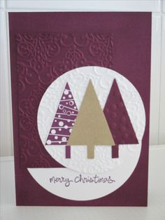 Christmas Card - using Stampin' Up Festival of Trees, Tree Punch, Good Greetings, Lacey Brocade Embossing Folder and Blackberry Bliss Cardstock