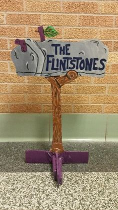 Homeade Flintstones mailbox made out of foam board for a variety show.